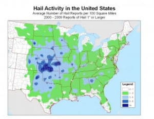 hail storm damage map in Charlotte nc